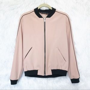 Zara Pink Black Zip Bomber Sporty Striped Jacket M